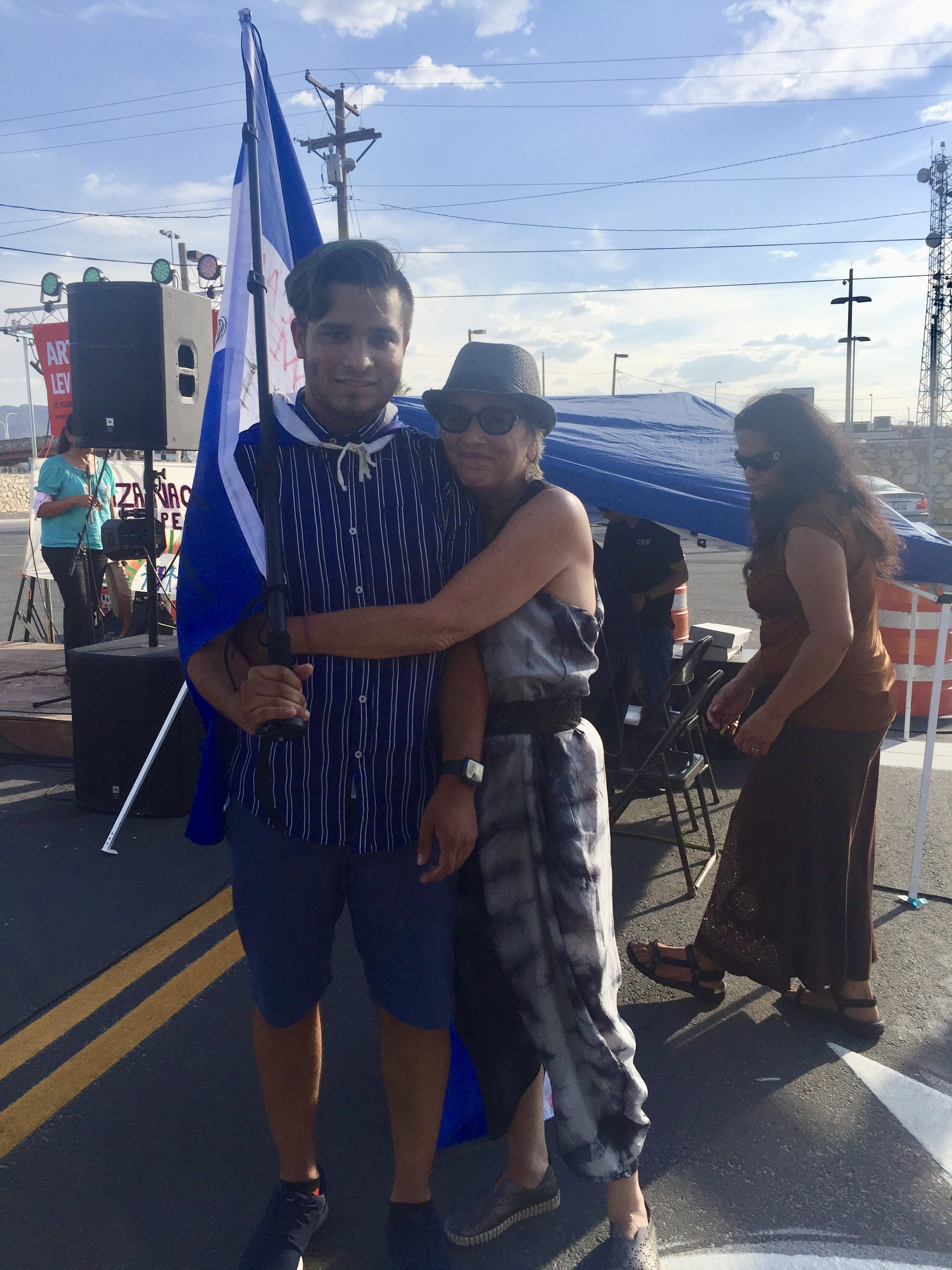 Solito, Solita narrator Gabriel Mendez with playwright Eve Ensler at the El Paso border.